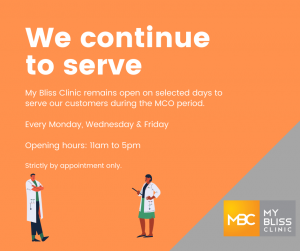 My Bliss Clinic remains open to serve our customers in light of COVID 19. 1